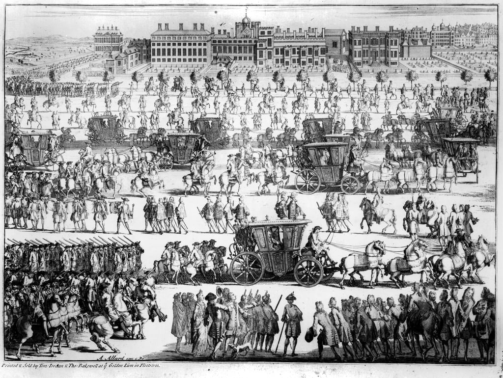 König Georg I. Prozession zum St. Jamess Palace, 20. September 1714, graviert von Abraham Allard von English School
