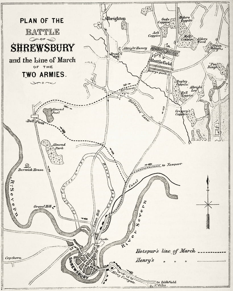 Plan der Schlacht von Shrewsbury, den 21. Juli 1403 von The National und Domestic History of England von William Hickman Smith Aubrey (1858-1916) veröffentlicht London, ca. 1890 von English School