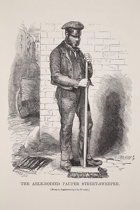 The Able-Bodied Pauper Street-Sweeper, von der Daguerreotypie von Richard Beard, Illustration von London Labor und London Poor von Henry Mayhew, Pub. 1862 von English School