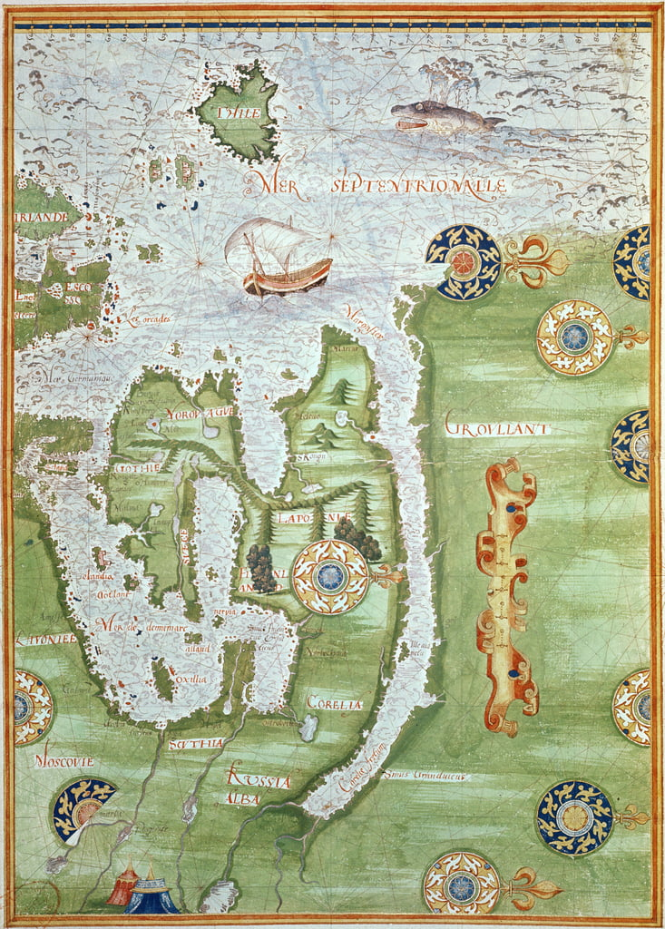Karte Skandinavien.Fol 10v Karte Von Skandinavien Und Nordrussland Von Cosmographie Universelle 1555 Von Guillaume Le Testu