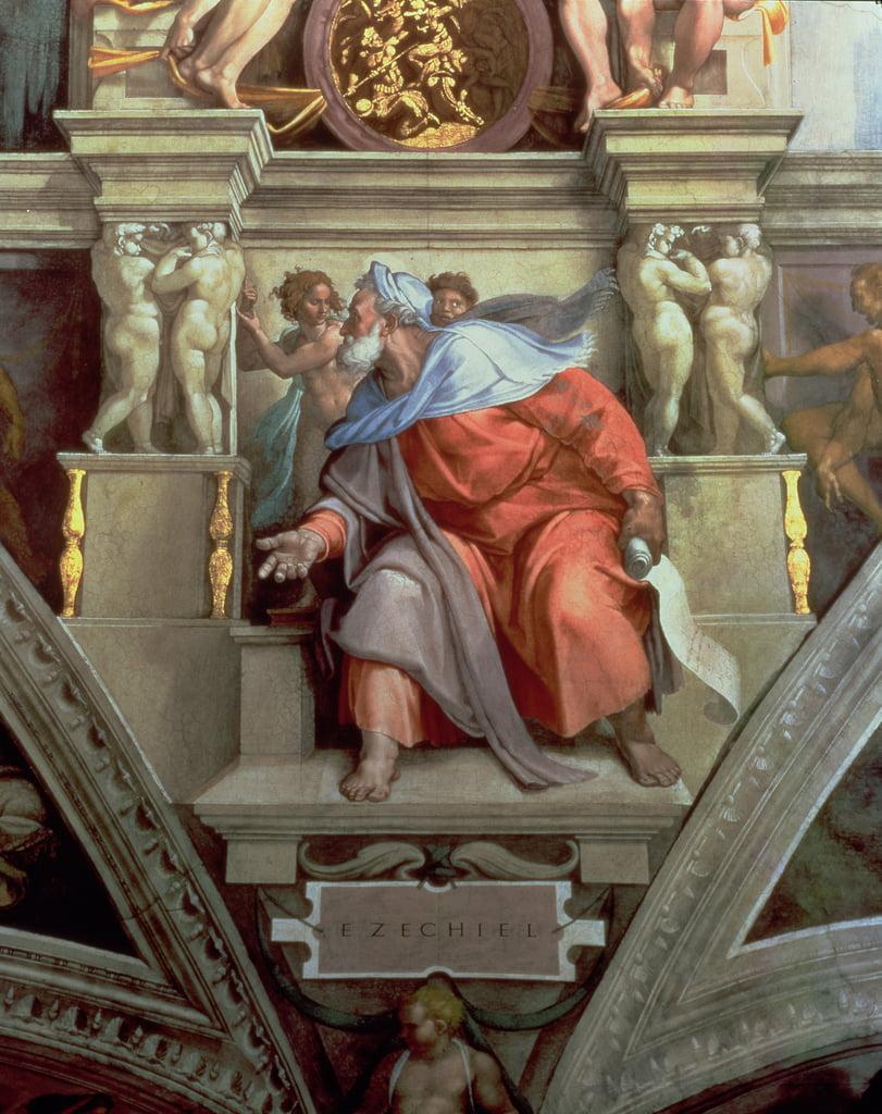 Sixtinische Kapelle Decke Der Prophet Hesekiel 1510 Nachrestaurierung