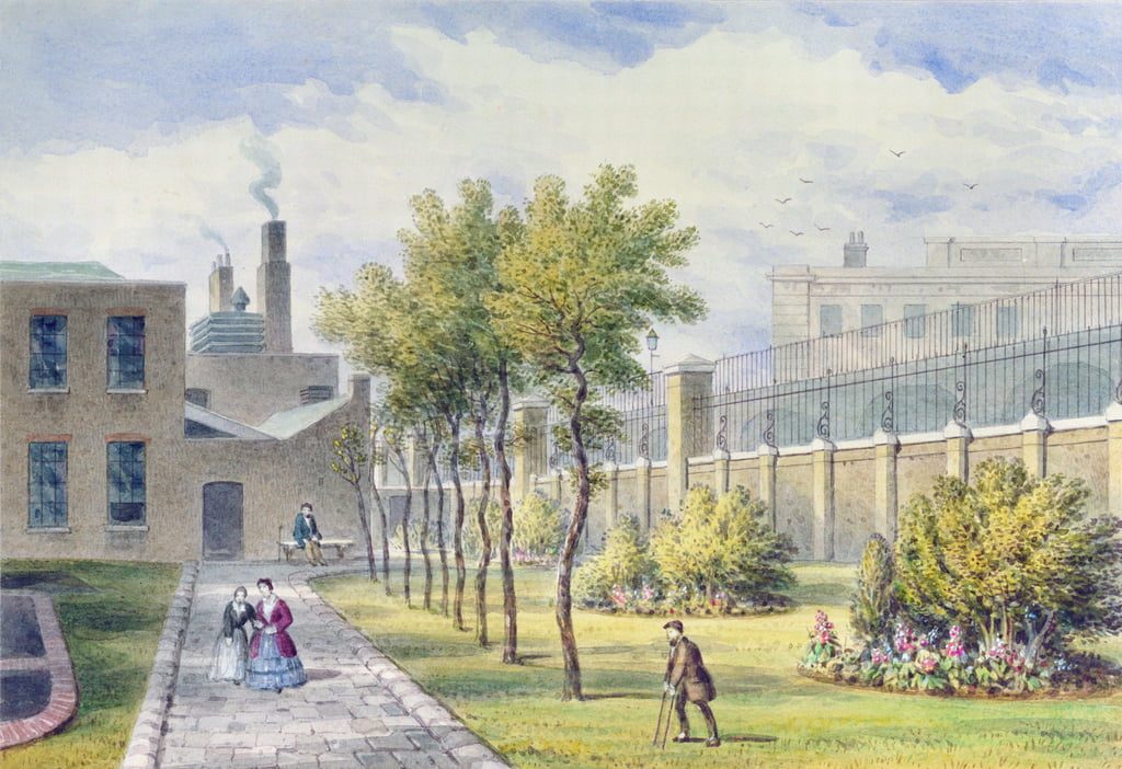Garden of St. Thomas Krankenhaus, Southwark, London von Thomas Hosmer Shepherd