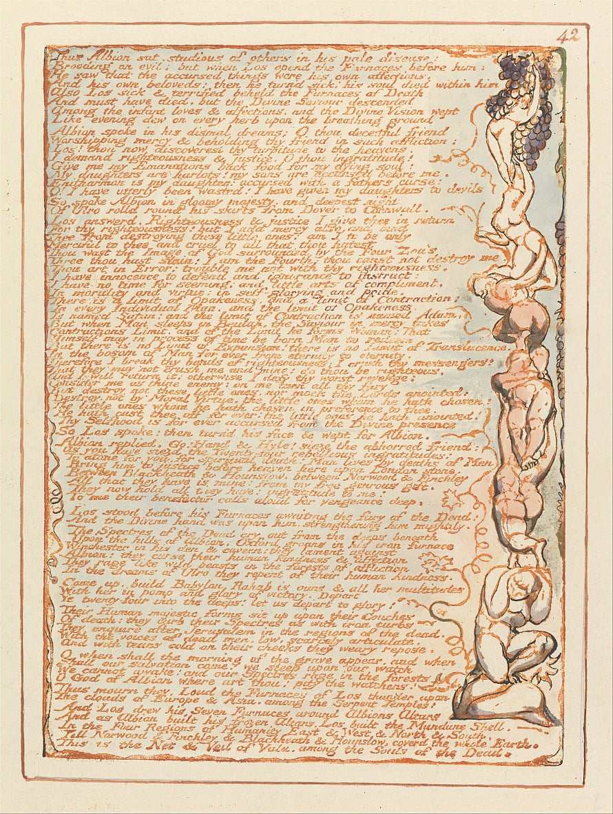 Jerusalem, Tafel 42, So saß Albion ... von William Blake