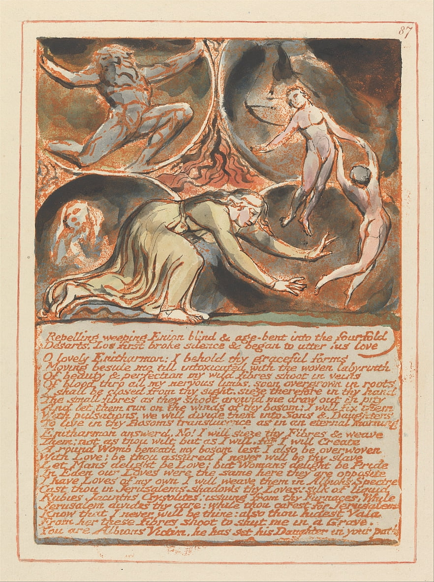 Jerusalem, Tafel 87, weinende Enion ... von William Blake