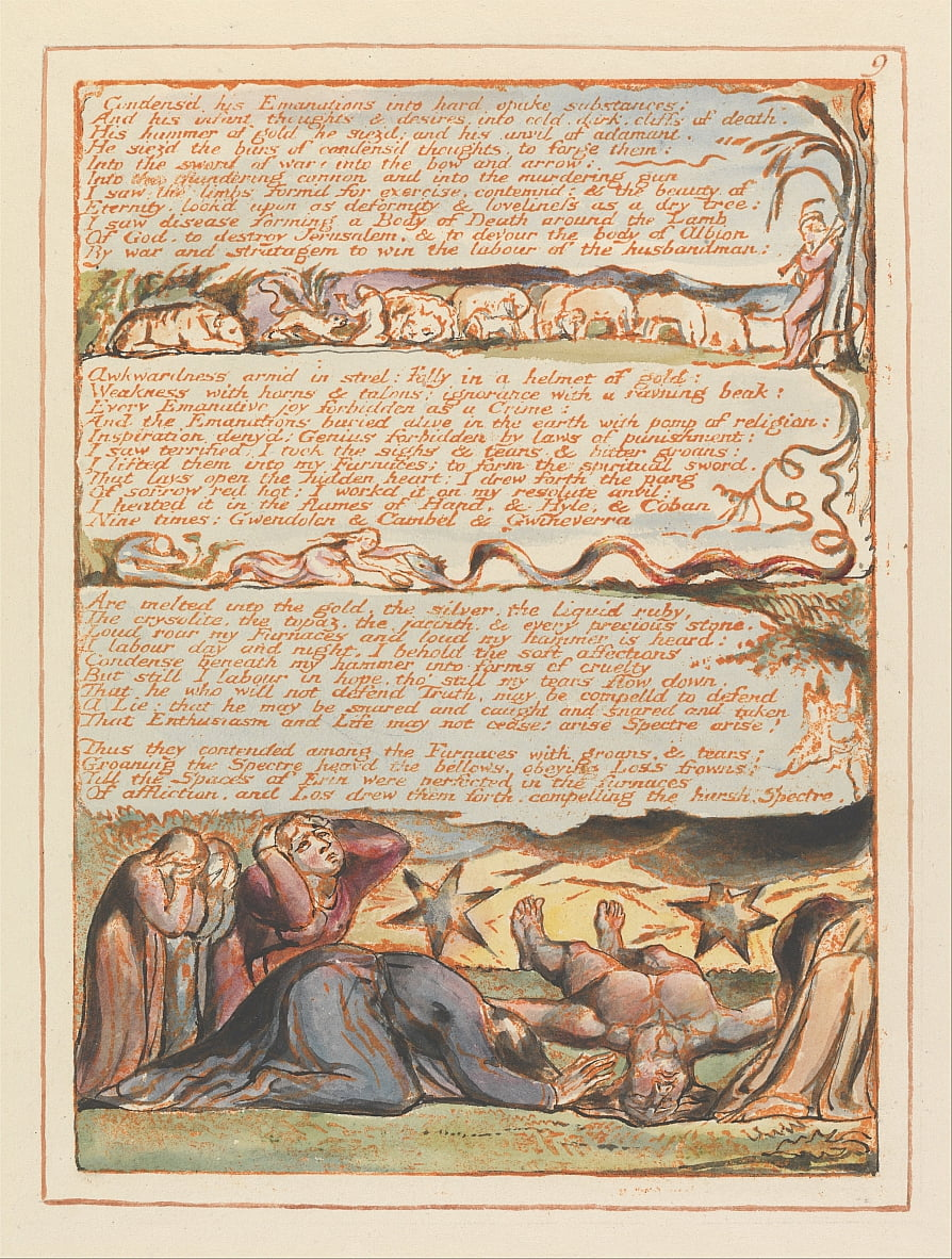 Jerusalem, Tafel 9, kondensierte seine Emanationen .... von William Blake