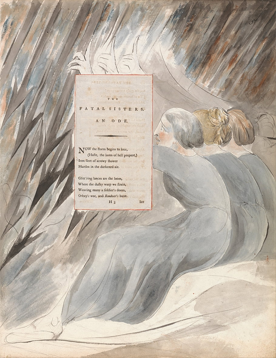 Die Gedichte von Thomas Gray, Design 71, The Fatal Sisters. von William Blake