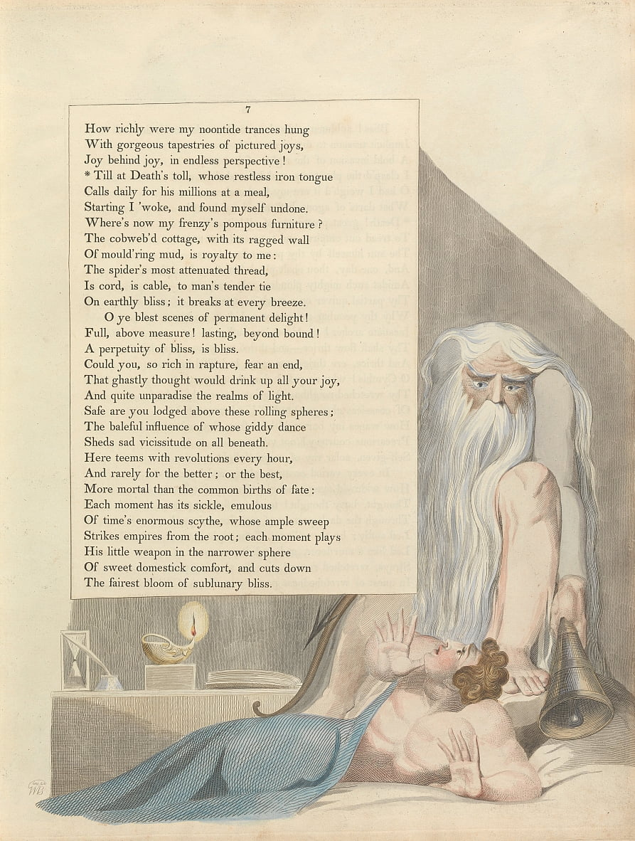 Youngs Night Thoughts, Seite 7, Till at Deaths Maut, dessen ruhelose Eisenzunge von William Blake