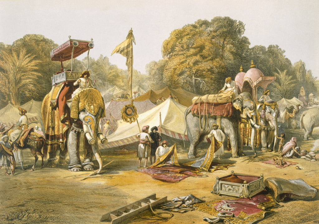 Pheel Khana oder Elefantenviertel, Holcars Camp, von India Ancient and Modern, 1867 von William Crimea Simpson